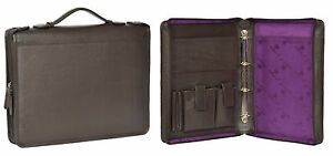 Genuine Brown Leather Folio Bag Mens Zip Around Binder Document Conference Bag