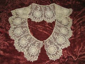Stunning Antique Cotton Large Bertha Collar Many Baubles