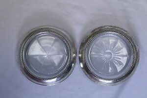Set Of Two Vintage Frank M Whiting Co Sterling Silver Glass Coaster