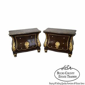 Pair Of Rococo Gilt Accent Marble Top Bombe Commodes Nightstands Chests