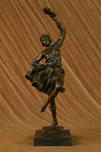 Signed Bruno Zach Leaping Dancer Bronze Marble Sculpture Marble Figurine Sale