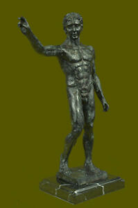 Signed Rodin Abstract Modern Decor Man Nude Torso Bronze Sculpture Figurine Eg
