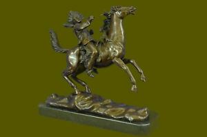 Bronze Statue Indian Warrior On Horse Sculpture American Signed Kauba Decor