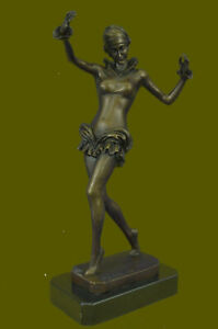 Decor Nouveau Chiparus Style Bronze Sculpture Dancer Marble Base Figurine Eg