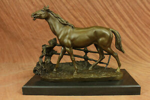 Large P J Mene Racing Horse Model Bronze Sculpture Decor Marble Figure Decor Eg