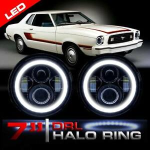 Led Headlight Black Vader Set With Halo Rings For Ford Mustang 1965 1978