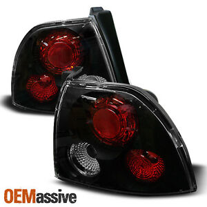 Fits 94 95 Honda Accord 2 4dr Black Bezel Rear Tail Lights Brake Lamps Pair