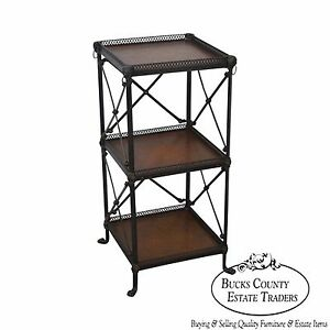 Quality Regency Style 3 Tier Bronze Metal Leather Etagere