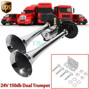 12 24v 150db Super Loud Dual Trumpet Air Horn Horns For Truck Mega Train Chrome