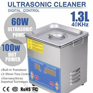 Ultrasonic Cleaner 1 3 L Liter Stainless Steel Industry Heated Clean Glasses Tb