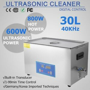 30l Liter Industry Heated Ultrasonic Cleaner Stainless Steel Heater Timer 600w T