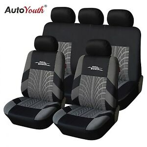 Seat Universal Car Cover 9 Pieces Set Full Cloth Black Flat Fabric Accesories