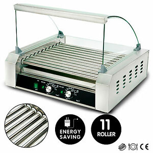 11 Roller Commercial 30 Hot Dog Grill Stainless Steel Cooker Machine W cover Ce