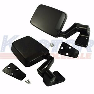 Black Left Right Pair Set Manual Side View Door Mirrors For Jeep Wrangler 87 02