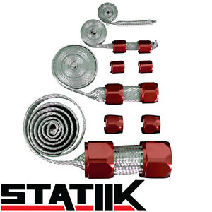 Red Stainless Steel Engine Hose Dress Up Kit For Radiator Vacuum Fuel Oil S4