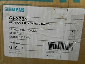 Siemens Gf323n 100 Amp 240 Volt Fusible Indoor Disconnect Safety Switch