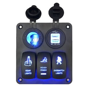 3gang Waterproof Car Circuit Blue Led Rocker Switch Panel Marine Boat Rv Breaker
