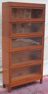 Ultra Choice 5 Section Globe Wernicke Mission Oak Barrister Bookcase