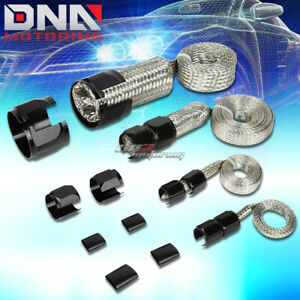Braided Hose Stainless Steel Black Engine Dress Up Kit Radiator Vacuum Fuel