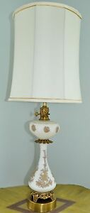 Vintage Tall 36 Hollywood Regency White Milk Glass Gold Glass Brass Table Lamp