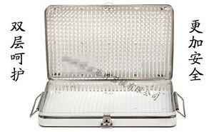 Stainless Steel Sterilization Tray Case Surgical Instrument 262 162 22mm 9