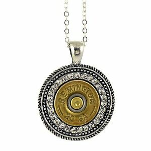 Shotgun Shell Pendant Necklace 20 Gauge Bullet Casing with Silvertone Clear 16