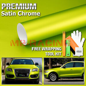 Premium Matte Satin Chrome Lime Green Vinyl Wrap Sticker Decal W Air Release
