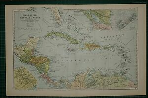1905 Antique Map West Indies Central America Haiti Cuba Panama Bermuda