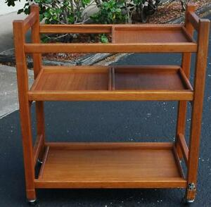 Beautiful Mid Century Teak Tea Cart With Interchangeable Shelves Marked Dolphin
