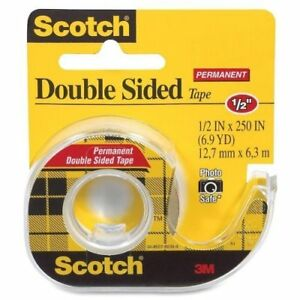3m Double sided Tape With Dispenser Permanent 1 2 X 250 Inches Clear 12 Pack