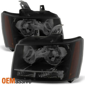 Fit 2007 2013 Chevy Avalanche Suburban Tahoe Black Smoked Headlights L r Pair