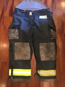 Firefighter Turnout Bunker Pants Cairns 44x28 Black Bib Halloween Costume