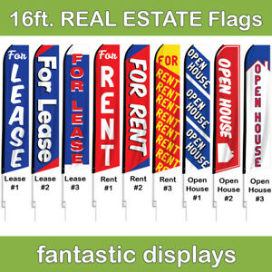 16ft Real Estate Advertising Swooper Flags Lease Rent And Open House Flags