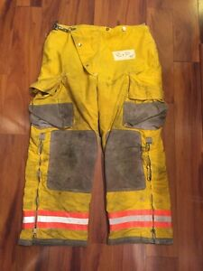Firefighter Turnout Bunker Pants Globe 40x30 1993 Yellow Halloween Costume