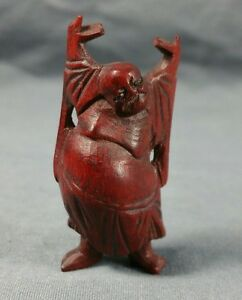 Japanese Netsuke Hand Carved Wood Sculpture Figurine Standing Buddha