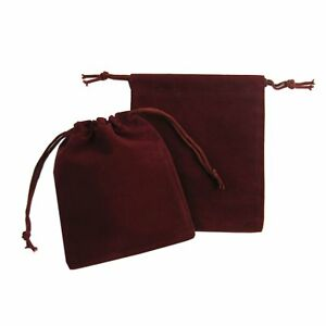200x Drawstring Burgundy Velvet Square Jewellery Wedding Pouches Gift Bags 2 x3