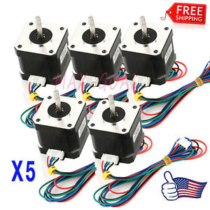 Us Stock 5x Nema 17 Stepper Motor 1 7 A 0 59 Nm 84 Ozin For 3d Printer And Cnc