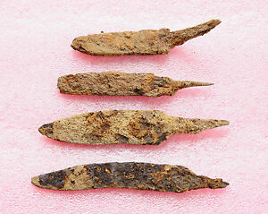 Lot Of 4 Ancient Medieval Knife Blade Roman Artifact Metal Detector Found