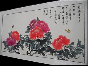 Chinese Master Painting Scroll Peony Flower Original Piece On Silk By Artist