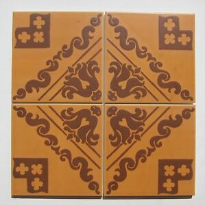 Vintage 1960s 6 X 6 Brown Scarf Print Floor Tile 81 Sq Ft Available Italy