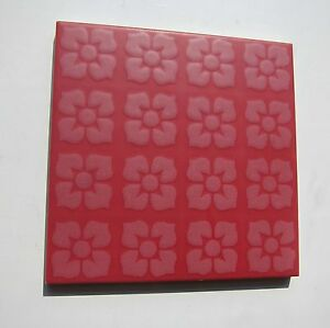 Vintage 1960s 6 X 6 Red Floral Floor Tile 46 Sq Ft Available Made In Italy