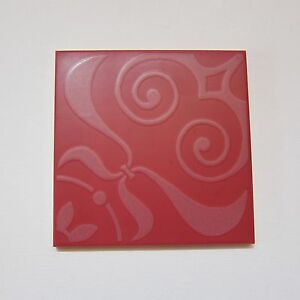 Vintage 1960s 6 X 6 Red Neoclassical Floor Tile 18 Sq Ft Available Italy