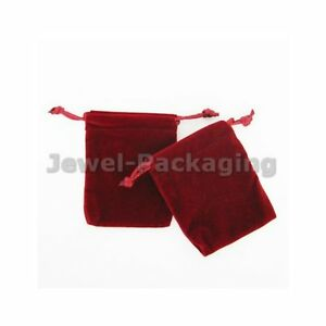 60 Red Color Thick Heavy Velvet Jewelry Pouches Party Gift Bags 4 7 X 6 2