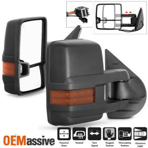 Fit 07 13 Silverado Suburban Sierra Power Heated Led Signal Side Towing Mirrors
