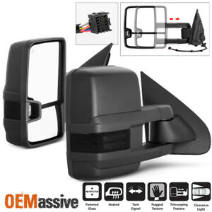 Fit 14 18 Chevy Silverado Gmc Sierra Power Heated Smoked Led Side Towing Mirrors