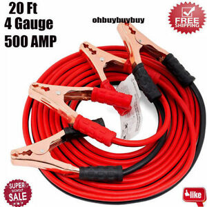 20 Ft 4 Gauge Battery Booster Cable Jumping Cables Power Jumper Heavy Duty Hot