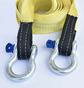3 20000lbs Tow Strap 20 Ft W D Rings Winch Sling Off Road Vehicle Recovery