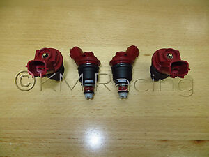 4x New Nismo Nissan Sr20det Red Side Feed 740cc Fuel Injectors 16600 Rr544