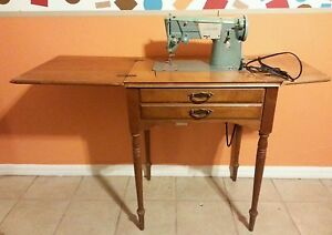 Vintage Singer Sewing Machine With Table Motor Works
