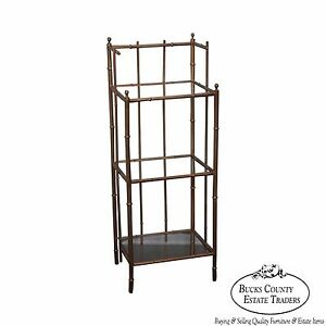 Vintage Gilt Metal Faux Bamboo Small 3 Tier Glass Shelf Etagere